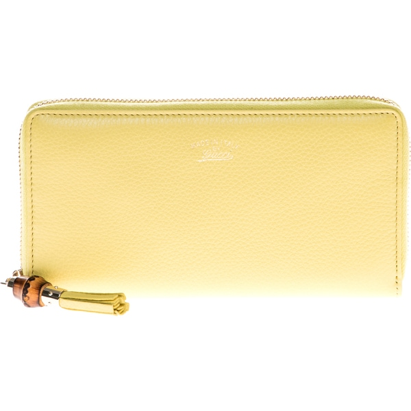 Gucci Bamboo Tassel Leather Zip Around Wallet