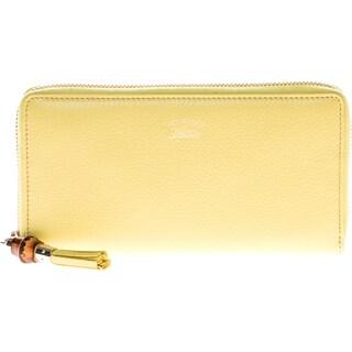 Gucci Bamboo Tassel Leather Zip Around Wallet