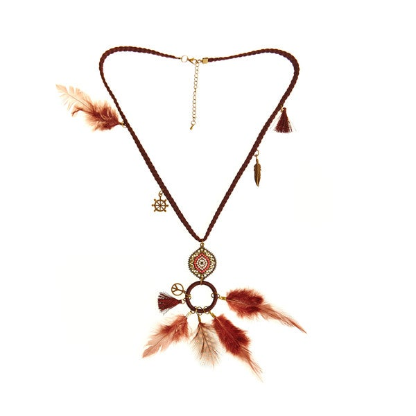 Braided Brown Cord Brass and Feather Charm Necklace