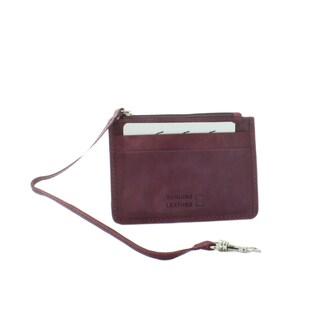 Yacht Fashion Women's Leather Card Holder with Zipper Pocket Wristlet