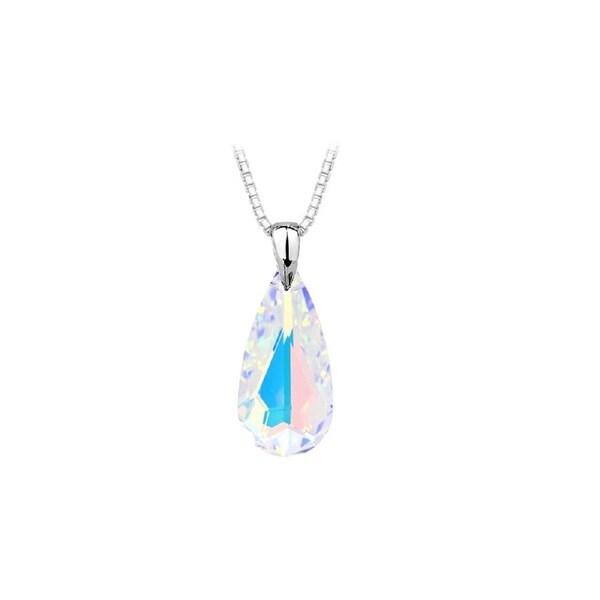 Swarovski Crystal AB Teardrop Pendant Necklace In Sterling Silver