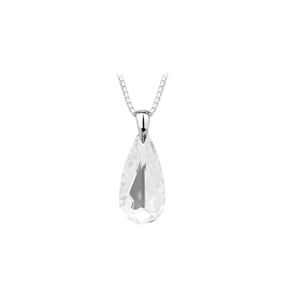 Sterling Silver Austrian Clear Crystal Teardrop Necklace