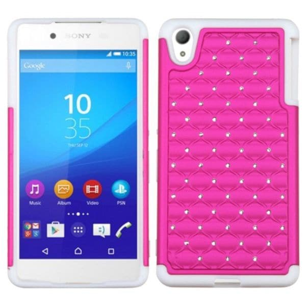 Insten Hard PC/ Soft Silicone Dual Layer Hybrid Rubberized Matte Phone Case Cover with Diamond For Sony Xperia Z4