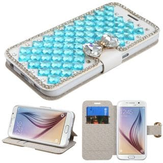Insten Leather Wallet Flap Pouch Rhinestone Bling Phone Case Cover with Stand For Samsung Galaxy S6