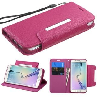 Insten Leather Wallet Flap Pouch Phone Case Cover Lanyard with Stand For Samsung Galaxy S6 Edge