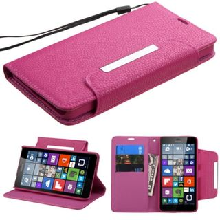 Insten Leather Wallet Flap Pouch Phone Case Cover Lanyard with Stand For Microsoft Lumia 640