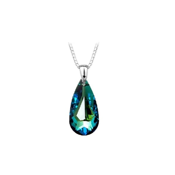 Swarovski Crystal Bermuda Sterling Silver Blue Crystal Teardrop Pendant Necklace