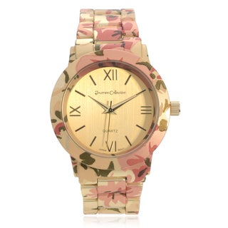 Journee Collection Women's Floral Print Link Watch