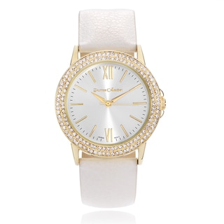 Journee Collection Rhinestone Leather Strap Watch