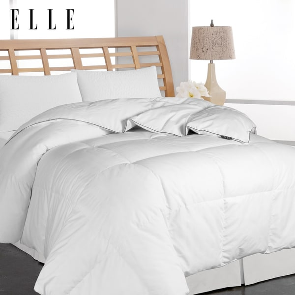 Elle Microfiber Pinstripe White Down Comforter (King)(As Is Item)