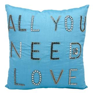 Mina Victory Luminescence All You Need Is Love Turquoise Throw Pillow (18-inch x 18-inch) by Nourison