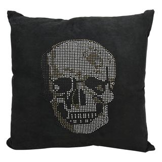 Mina Victory by Nourison Luminecence Black Skull 18-inch Throw Pillow