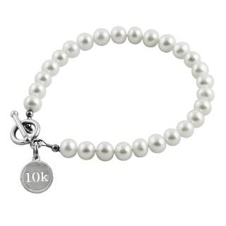 10K Race Sterling Silver Pearl Bracelet