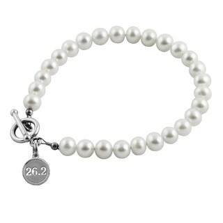 26.2 Marathon Sterling Silver Pearl Bracelet
