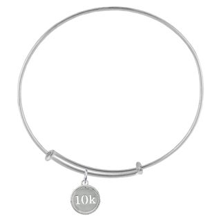 10K Race Sterling Silver Charm Adjustable Bracelet
