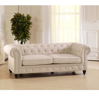 Baxton Studio Noonan Contemporary Beige Fabric Upholstered Sofa With Button Tufting And Nail Head Trim And Wood Legs