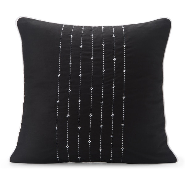 Spun by Welspun HandCrafted Lehar Black 16-inch Decorative Pillow