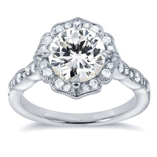 Annello 14k White Gold Round-cut Moissanite and 1/4ct TDW Diamond Floral Engagement Ring (G-H, I1-I2)