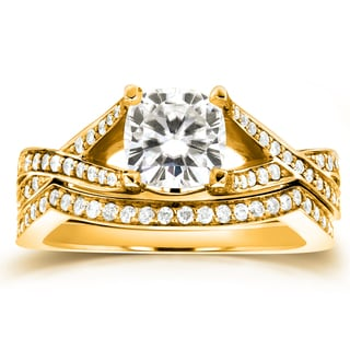 Annello 14k Yellow Gold Cushion-cut Moissanite and 2/5ct TDW Diamond Bridal Set Rings (G-H, I1-I2)