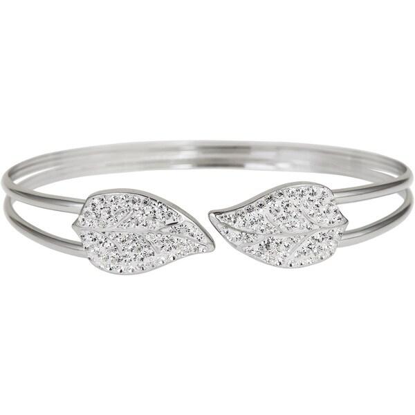 Sterling Silver Leaf Crystal Cuff Bracelet
