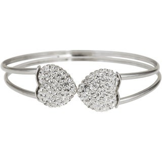 Sterling Silver Crystal Heart Double-strand Bangle
