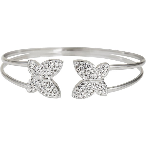 Sterling Silver Butterfly Crystal Cuff Bracelet