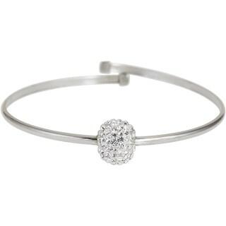 Sterling Silver Ball Crystal Bangle Bracelet