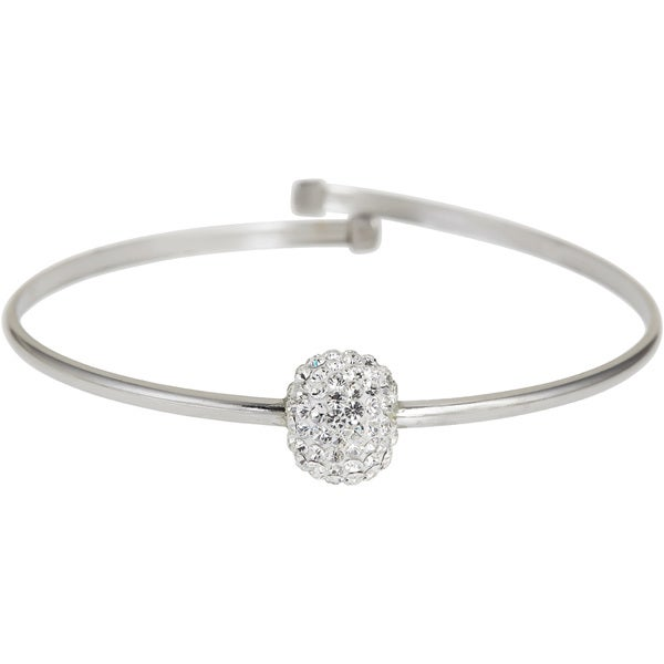 Sterling Silver Ball Crystal Bangle Bracelet