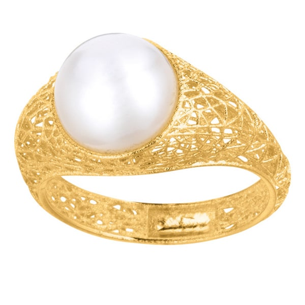 14K Yellow Gold 10mm White Pearl Ring