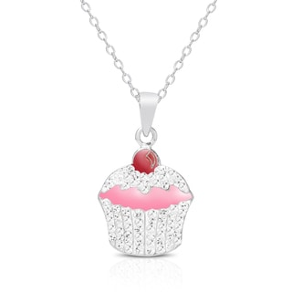 Molly and Emma Sterling Silver, Crystal and Enamel Cupcake Necklace