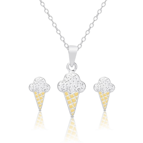 Molly and Emma Sterling Silver and Crystal Ice Cream Necklace and Stud Earrings Set 15546602