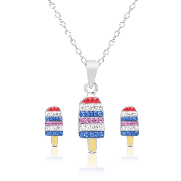 Molly and Emma Sterling Silver and Crystal Ice Cream Necklace and Stud Earrings Set