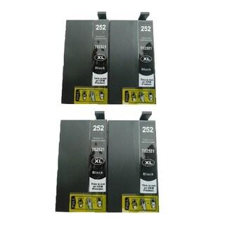 4-Pack Replacing T252XL120 Black Ink Cartridge For Epson WF-3620 WF-3640 WF-7110 WF-7610 WF-7620 Printer