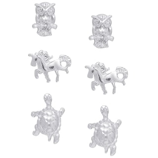 Molly and Emma Sterling Silver Owl, Horse, and Turtle Stud Earrings Set