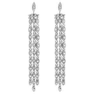Sterling Silver Cubic Zirconia Long Dangle Earrings