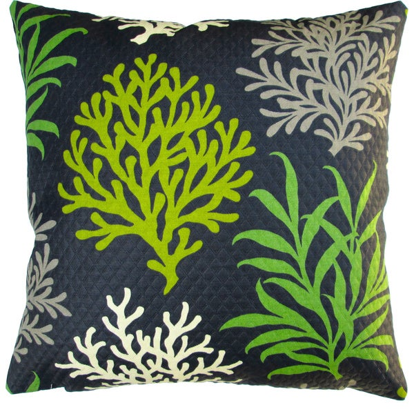 Artisan Pillows Indoor/ Outdoor 18-inch Modern Lime Green/Black Coral Reef Beach House Coastal Living Decor Throw Pillow Cover