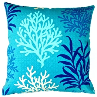 Artisan Pillows Indoor/ Outdoor 18-inch Modern Marine Blue and Ivory Coral Reef Beach House Coastal Living Decor Throw Pillow