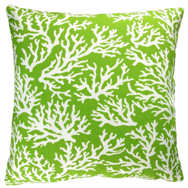 Artisan Pillows Indoor/ Outdoor 18-inch Apple Green Coral Reef Coastal Living Beach House Style Throw Pillow (Set of 2)