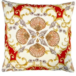 Artisan Pillows Indoor/ Outdoor 18-inch Orange Red Seashell Seahorse Beach House Style Throw Pillow (Set of 2)