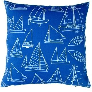 Artisan Pillows Outdoor 18-inch Marine Blue Sail Boat Yacht Club Coastal Living Beach House Throw Pillow Cover (Set of 2)