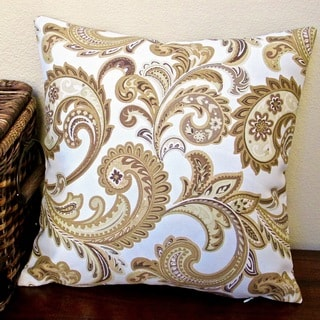 Artisan Pillows Indoor/ Outdoor 18-inch Gold Paisley and Ivory Modern Contemporary Geometric Throw Pillow (Set of 2)