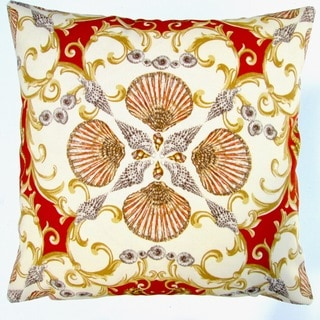 Artisan Pillows Indoor/ Outdoor 18-inch Orange Red Seashell Seahorse Coastal Living Beach House Throw Pillow Cover (Set of 2)