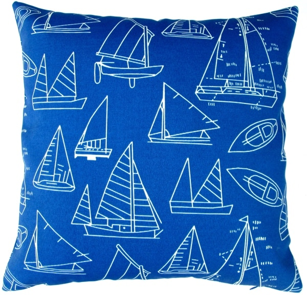 Artisan Pillows Indoor/ Outdoor 18-inch Marine Blue Sail Boat Yacht Club Beach House Decor Throw Pillow (Set of 2)