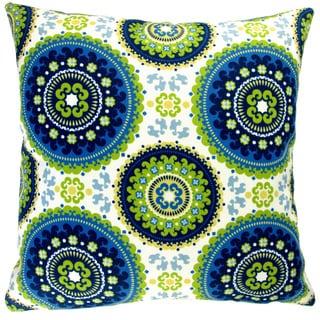 Artisan Pillows Indoor/ Outdoor 18-inch Modern Contemporary Geometric Circles Blue Lime Green Yellow Throw Pillow (Set of 2)