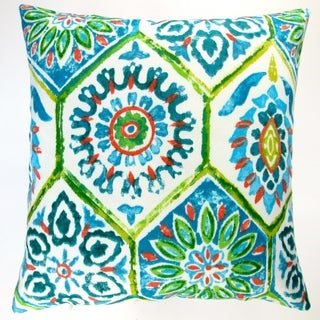 Artisan Pillows Outdoor 18-inch Lime Green Blue Modern Abstract Geometric Caribbean Beach Style Throw Pillow Cover (Set of 2)