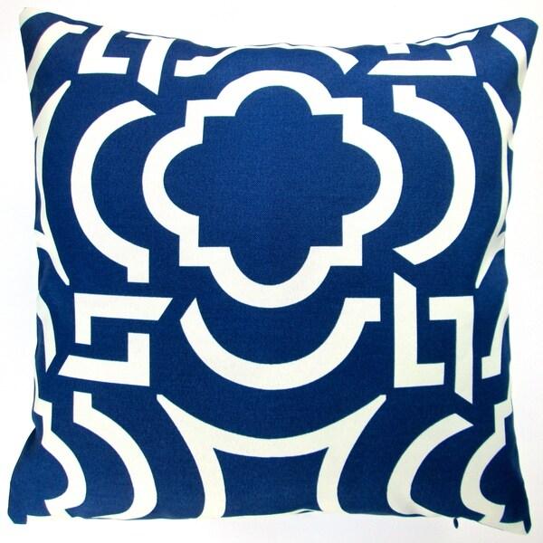 Artisan Pillows Indoor/ Outdoor 18-inch Navy Blue Modern Geometric Coastal Beach House Decor Throw Pillow (Set of 2)