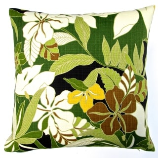 Artisan Pillows Indoor/ Outdoor 18-inch Tommy Bahama Fabric Green Hawaiian Hibiscus Flower Throw Pillow Cover (Set of 2)