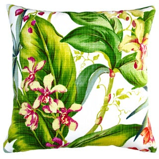 Artisan Pillows Indoor/ Outdoor 18-inch Tommy Bahama Fabric Hawaiian Orchid Floral Throw Pillow Cover (Set of 2)