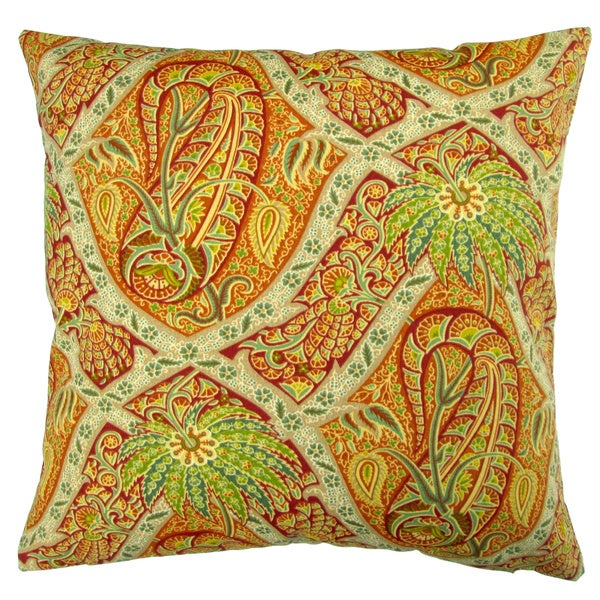 Artisan Pillows Outdoor 18-inch Tommy Bahama Fabric Orange Paisley Tropical Island Coastal Beach House Throw Pillow (Set of 2)