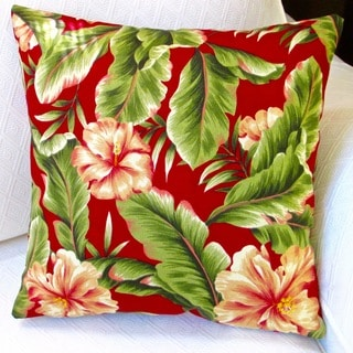 Artisan Pillows Indoor/ Outdoor 18-inch Red Hawaiian Tropical Island Beach Decor Hibiscus Flower Throw Pillow Cover (Set of 2)
